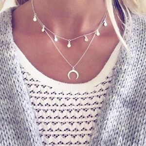 4 for $25 crescent moon horn sequins necklace